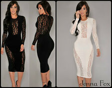 NEW Women's Sexy Long Sleeve Lace Panel Knee-Lenght Bodycon Midi Party Dress
