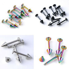 10pcs 16G Spike Bar Lip Chin Labret Ring Stud Stainless Steel Body Piercing US