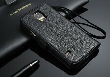 Genuine Real Leather Flip Wallet Case Cover Pouch For Samsung Galaxy S5 I9600