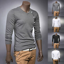 Men Solid Button Up Shirts Long Sleeve Casual Slim Fit New T-shirts Stylish