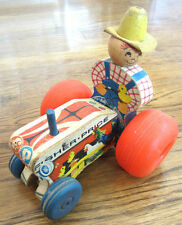 1962 Fisher Price Mighty Wobbling Farmer Tractor Pull Toy #629