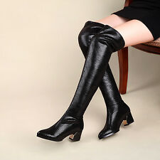 2015 Sexy Womens Chic Over Knee Boots Leather Cuban Heel Knight Riding Crack