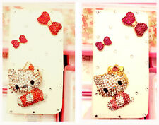 Luxury Bow 3D Hello kitty Bling Flip Wallet Leather Case Cover For HTC Cellphone
