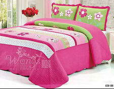 Cotton Floral Patchwork Quilted Bedspreads Set Size Bed Linen Coverlet Queen New