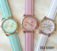 Luxury Women Stylish Geneva Numerals Faux Leather Analog Quartz Wrist Watch