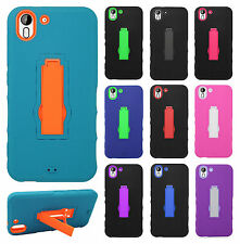 For HTC Desire EYE Impact Hard Rubber Case Phone Cover KickStand Accessory
