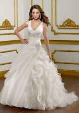 New White/Ivory Organza Wedding Dress Formal Dresses Stock Size 6 8 10 12 14 16