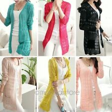 Women Korean Casual Long Sleeve Cardigan Knit Tops Knitwear Coat Jacket Outwear