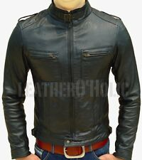 MENS BLACK SLIM FIT LEATHER JACKET CLUB PARTY  BNWT ALL SIZE XS-3XL