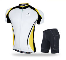 Yellow Men's Outdoor Sports Cycling Bike Bicycle Wear Short Sleeve Jersey+Shorts