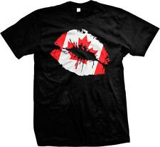 Canadian Lips- Canada Pride Flag Colors- Nationality Ethinc Pride  Mens T-shirt
