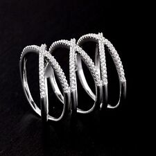 Womens Solid 925 Sterling Silver CZ Knuckle Triple  Highway X Criss Cross Ring