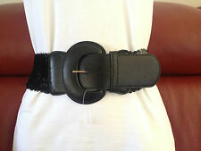 WOMENS WIDE BLACK SEQUIN BELT WITH FAUX LEATHER TRIMS SIZE 8, 10,14,16, 18, 20