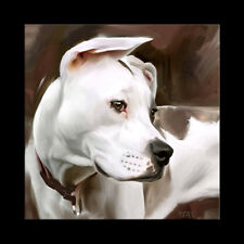 PITBULL pit bull art print picture CANVAS OIL GICLEE PAINTING