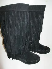 NEW WOMENS SUAVE BLACK SUEDE FRINGED BOOT 3/4 ZIP SIZES: 6-10 DESIGN BOOT LINED