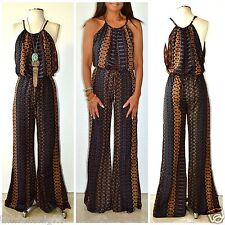 Elan Jumpsuit Moroccan Bell Bottom Palazzo Drawstring Waist Silky (S7006) SML