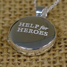 """OFFICIAL Help For Heroes 925 Sterling Silver Locket + 18"""" 925 Trace Chain Gift"""