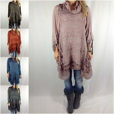Ladies Lagenlook Quirky Mohair Cowl Knit 2 Piece Tunic Dress Top Plus Size Curve