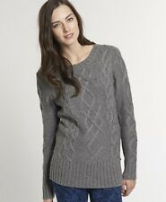 New Womens Superdry Boston Sweater Moody Grey Nep KDD