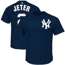 Derek Jeter New York Yankees Faux Stitch Navy Blue Player Jersey T Shirt Men's