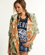 New Womens Superdry Super Parka Lodge Camo Green