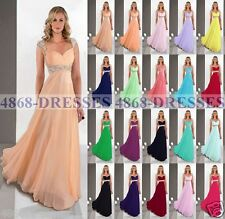 New Chiffon Formal Long Evening Party Ball Gowns Prom Bridesmaid Dress Size 6-18