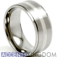 Accents Kingdom 8mm Men's Titanium Wedding Ring Band Silver Inlay Size 8-12