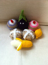 hand knitted food - cakes, sausages,chips, currant buns, fruit, veg, strawberry