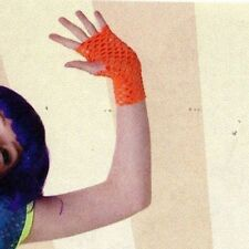 NWT Florescent Orange Fingerless Mitts Gloves Dance Costume Item one size adult