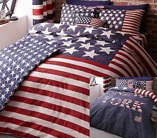 New York USA American Flag Stars Stripes Reversible Bedding Range Red Navy Blue