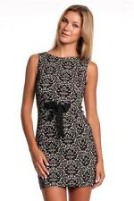 Love Moschino Jersey Jacquard Waist Tie-Up Dress Black White Mini Sleeveless NEW