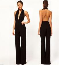 Women Low V Halter Backless Wide Leg Opening Chiffon Jumpsuit Siamese trousers