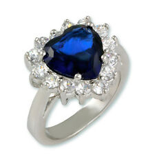 6CTW BLUE SAPPHIRE+CLEAR HEART CUBIC ZIRCONIA HALO RING-LARGE STONES