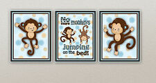 Pop Monkey Art Prints in BLUE monkeys jumping on bed/crib set/nursery/kids/baby