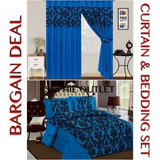 Bargain Deal Damask 4 Pcs Complete Bedding Set With Pair Of Flock Curtain BLUE