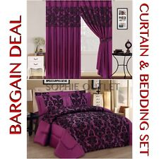 Bargain Deal Damask 4 Pcs Complete Bedding Set With Pair Of Flock Curtain PURPLE