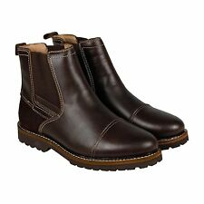 Bass Erving Mens Brown Leather Casual Dress Slip On Boots Shoes