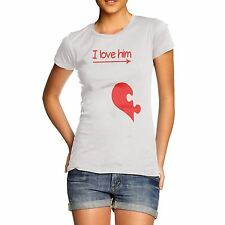 Women Funny Design Novelty Gift I Love Him Heart T-Shirt