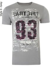 Firetrap Printed T-shirts New Men's Slim Fit Crew Neck Graphic Print Cotton Tee