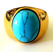 man's solid gold color stainless steel big turquoise ring size 9,10,11,12,13,14
