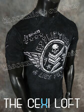 BRAND NEW Mens Affliction T-Shirt COMPOUND in Black Lava Wash Style #A11210
