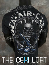 Mens Affliction T-Shirt SEA AIR LAND in Black Lava Wash Style #A11504