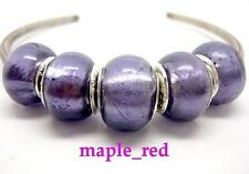 Fashion Purple Pure Foil European Style Lampwork Glass Beads fit Charm Bracelet