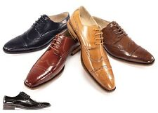Men's Dress Shoes Giovanni 6502 Leather Wing Tip Lace Up 4 Colors Size 7.5 To 14
