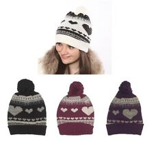 Ladies Hearts Design Knitted Ski Hat with Pom pom, 4 colours