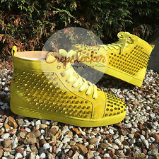 Authentic SS15 Christian Louboutin Louis Flat Spikes Suede Mimosa Sneakers