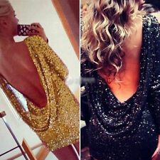UK Women Full Sequin Backless Drape Cowl Sparkly Bodycon Party Evening Dress