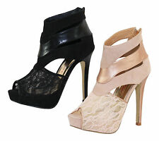Dolcis Black Nude Lace Cut Out Stiletto High Heel Platform Ankle Boots Shoes