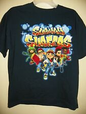 SUBWAY SURFERS/5 CHARACTERS-BOYS SIZE M(10/12)-LICENSED SHORT SLEEVE-NWT-NAVY