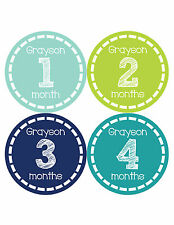 Personalized Baby Boy Monthly Stickers Custom Baby Name Boys Month Sticker 478
